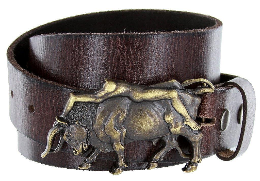 Western Antique Brass Bull Rider Genuine Leather Belt for Women Multiple Option