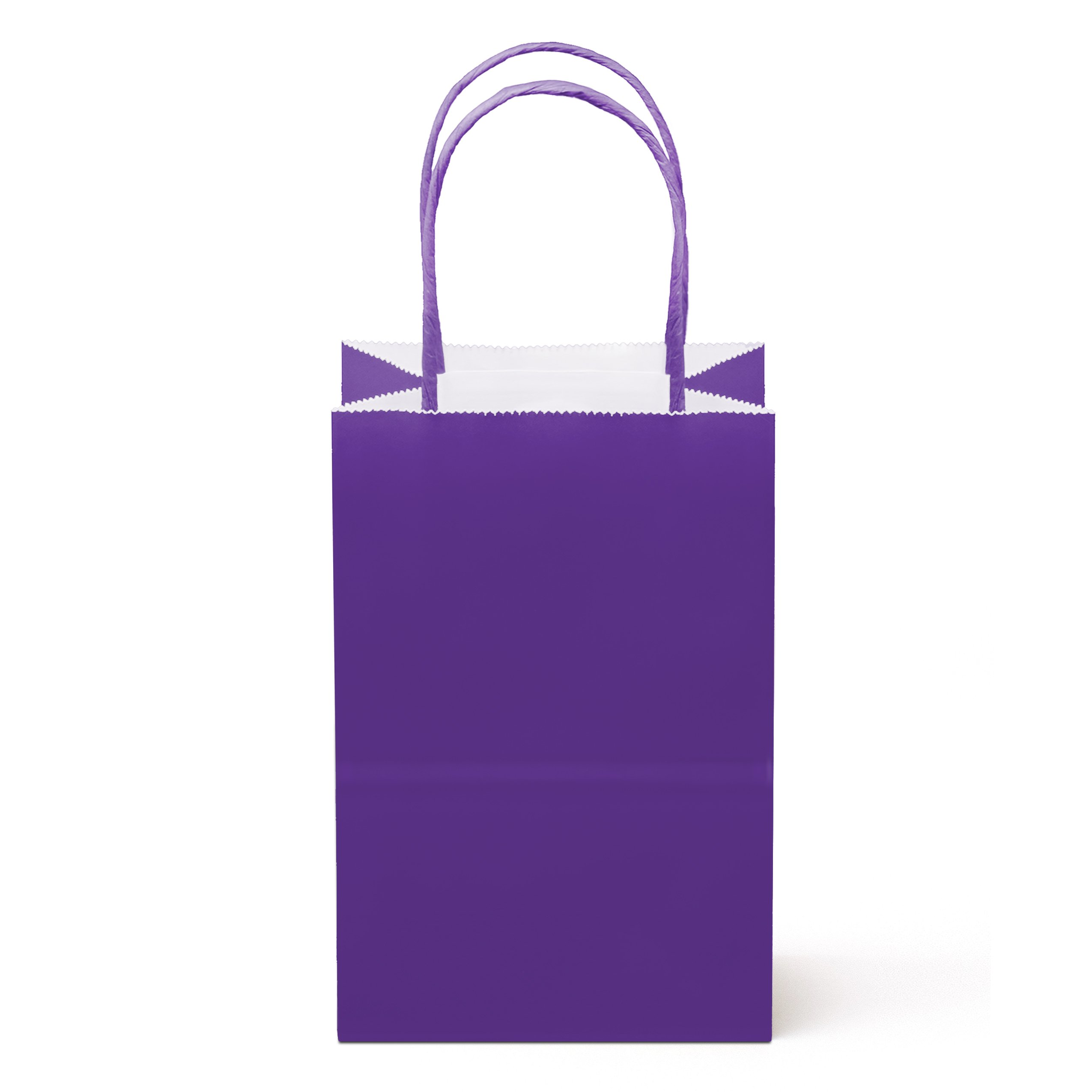 24 Counts Food Safe Paper and Ink, Natural (Biodegradable), Vivid Colored Paper Goody Kraft Bag with Colored Sturdy Handle (Small, Purple)