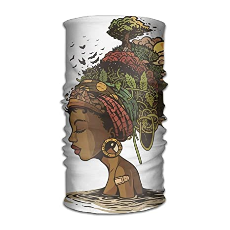 Ejdkdo Art African Woman Headwear Bandanas Seamless Headscarf Outdoor Sport Headdress Running Riding Skiing Hiking Headbands