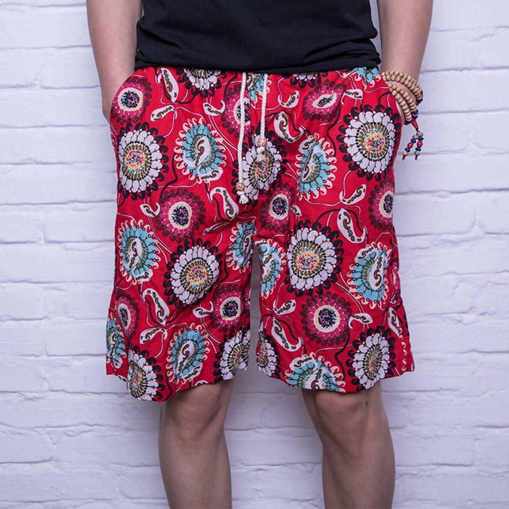 TFJNVJGVKM Uomini Beach Pants di biancheria in cotone uomini Beach pantaloni a rapida asciugatura pantaloncini Casual Moda Stampa, XL ERDHBSBFGN