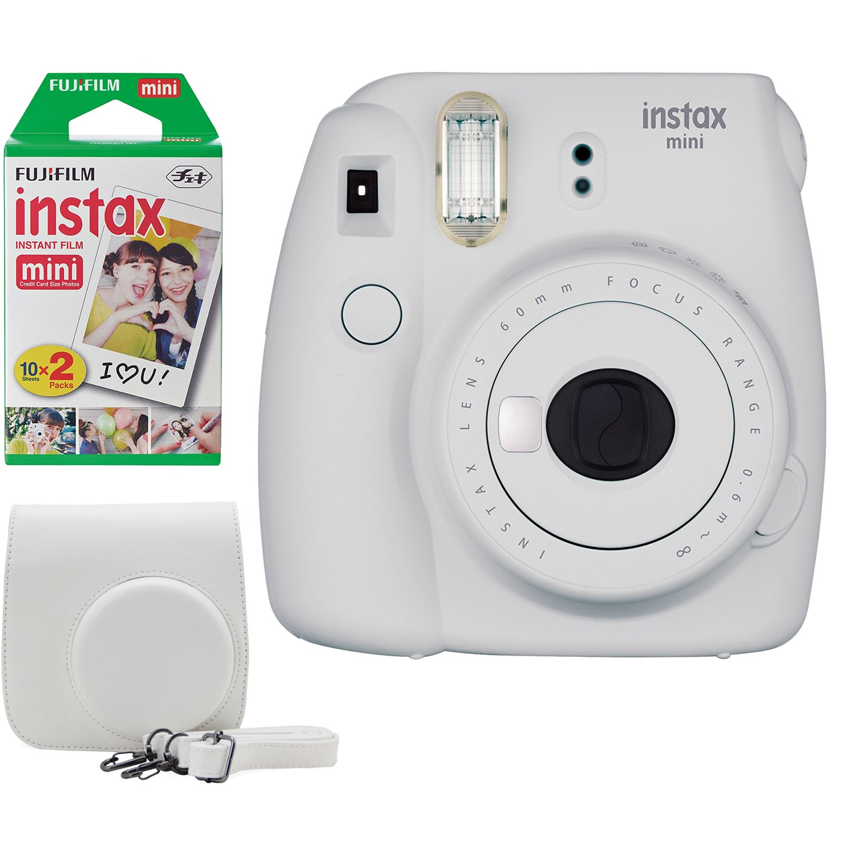 Fujifilm Instax Mini 9 Instant Camera Bundle w/Case and Film (Smokey White)