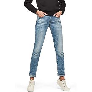 5035db6c8df7 G-STAR RAW Damen 3301 Deconstructed Mid Waist Straight Jeans, Blau ...