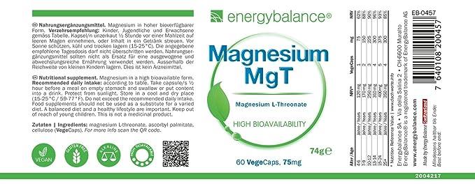 EnergyBalance Magnesium L-Threonate 60 Capsules à 75mg | Alta biodisponibilidad | Vegano y sin gluten | Apto para vegetarianos y veganos | Calidad de marca ...