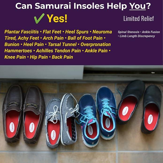 b60d656229c Amazon.com  Samurai Insoles Instant-Relief Orthotics for Flat Feet -  Plantar Fasciitis