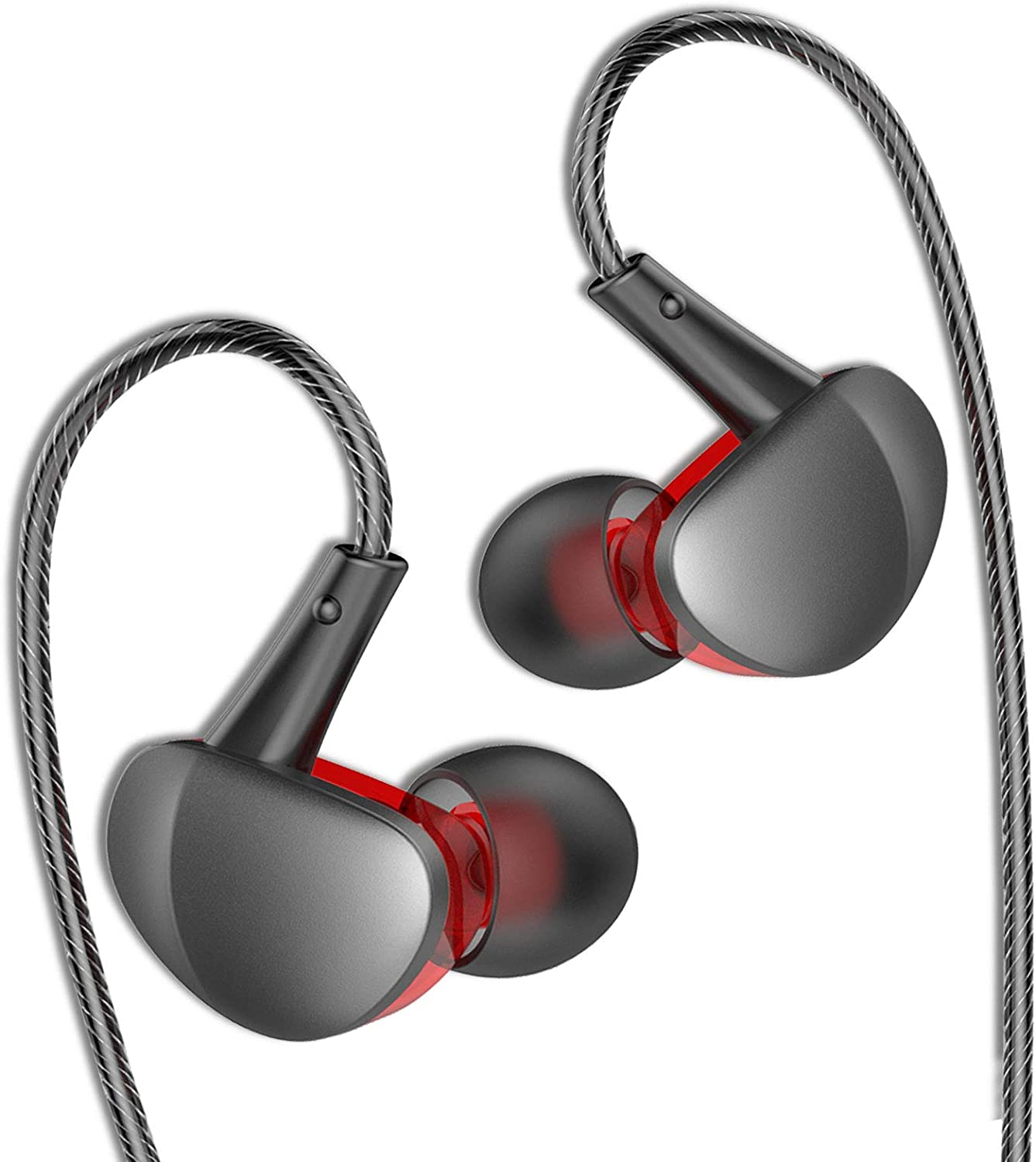 MOVOYEE Earbuds Aux Headphone Wired Earbuds for Android Earphone for iPhone 6S 6 Plus/SE/iPod/Samsung S10 S9 S8/PC Xbox PS4 Gaming,Earbuds Wrap Around Ear Headset Noise Cancelling for Workout,Running