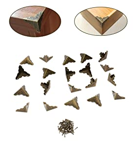 Anmeilexst Box, Wooden Box, Photo Frame, Table and Chair, Cabinet, Metal Corner Furniture Safety Protector, Vintage Bronze, Set of 20(Contains Nails)