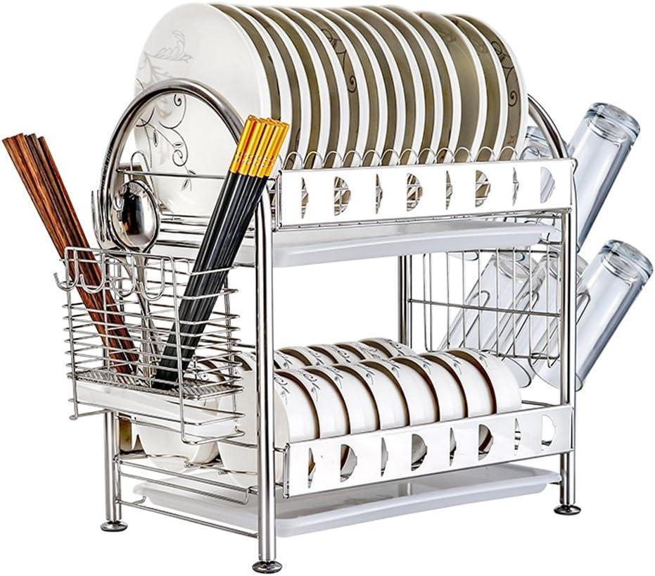 Lsxue Lavaplatos Suministros de Cocina Estante de Cocina Estante de Plato Desagüe Limpieza en seco Estante de exhibición de Acero Inoxidable Mostrador de Almacenamiento Lavabo for lavavajillas