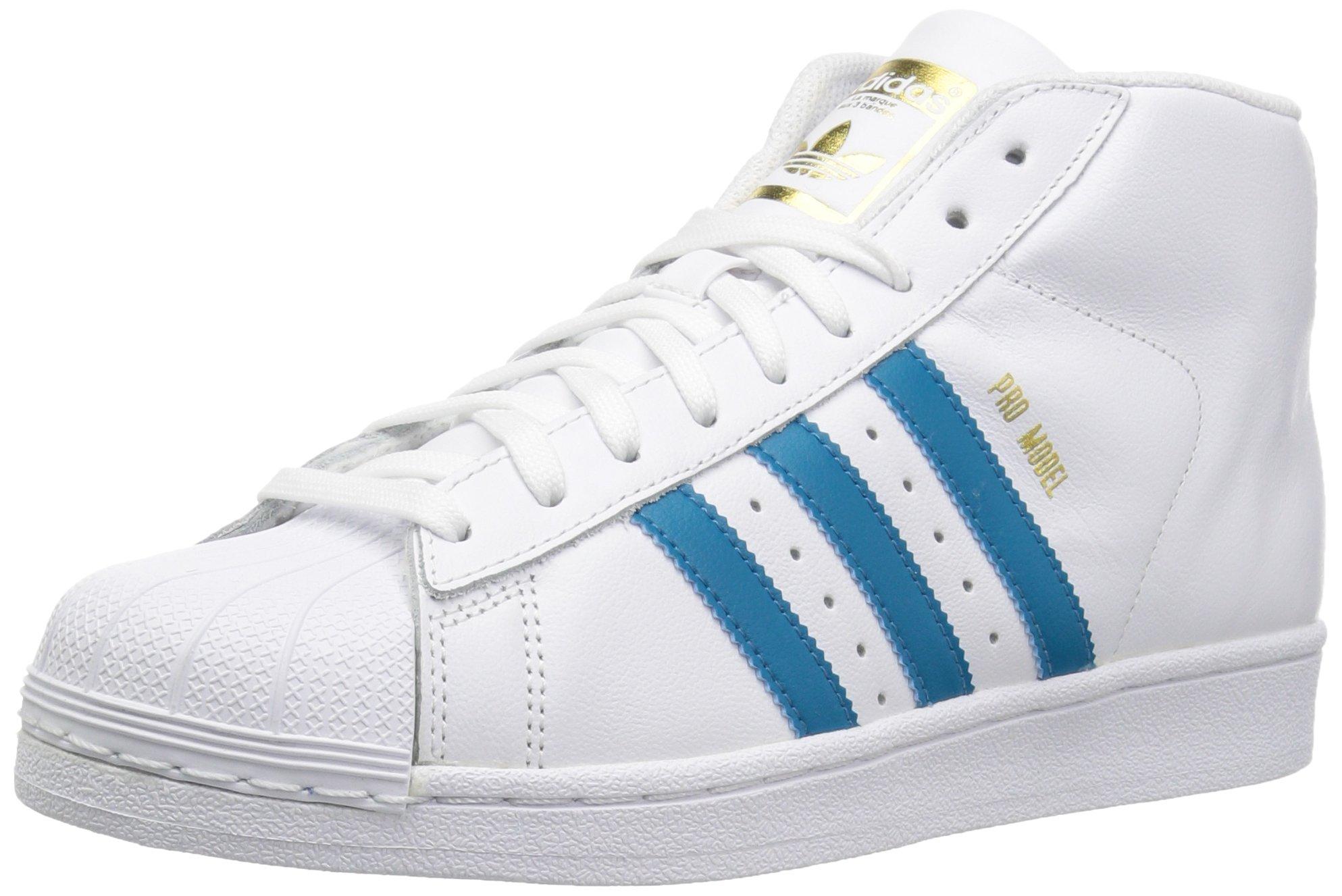 adidas Originals Boys' PRO Model J Running Shoe, White/Mystery Petrol/Metallic Gold, 4 Medium US Big Kid