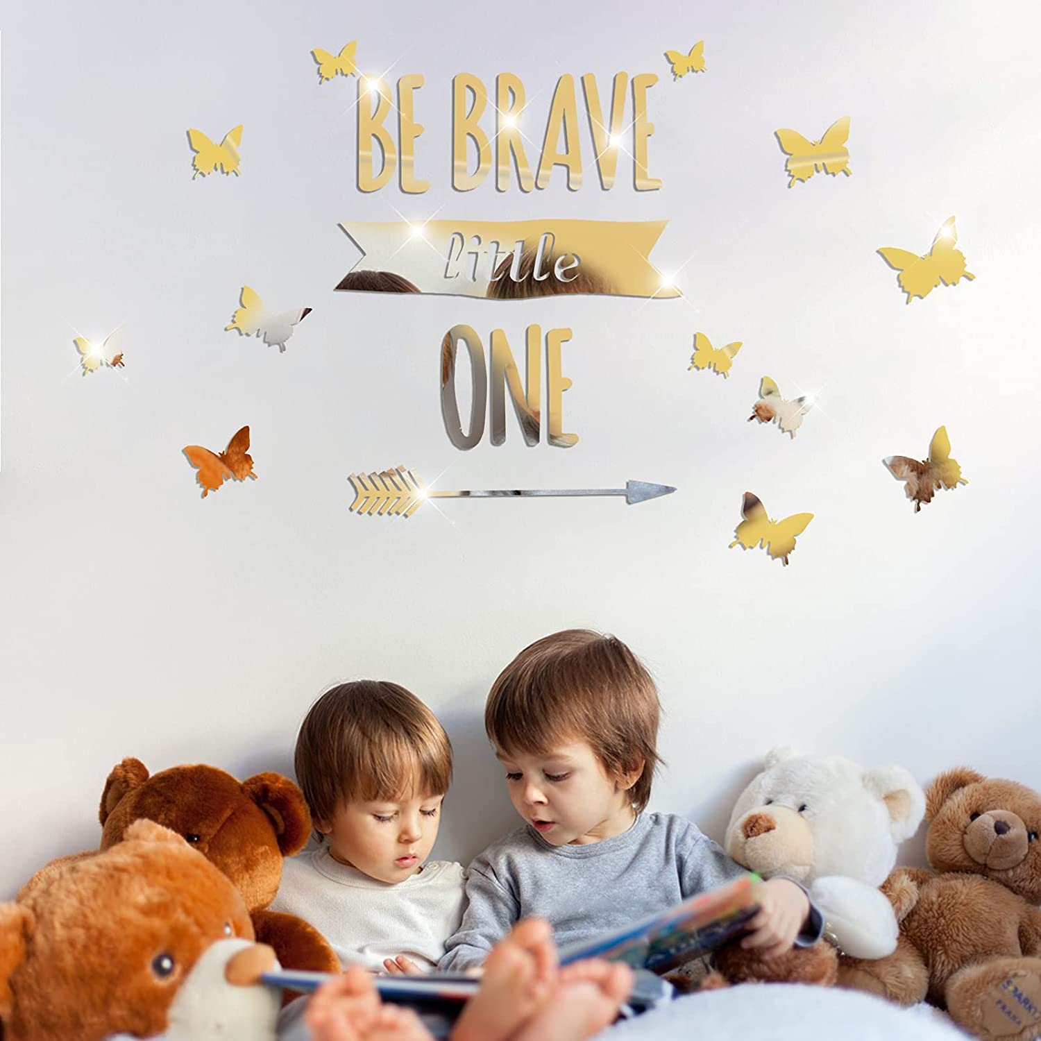 3D Acrylic Mirror Wall Stickers Butterfly Decor, Removable Be Brave Little One & Butterflies DIY Decals, Modern Art Mural for Kids Bedroom Nursery Decoration(Golden)