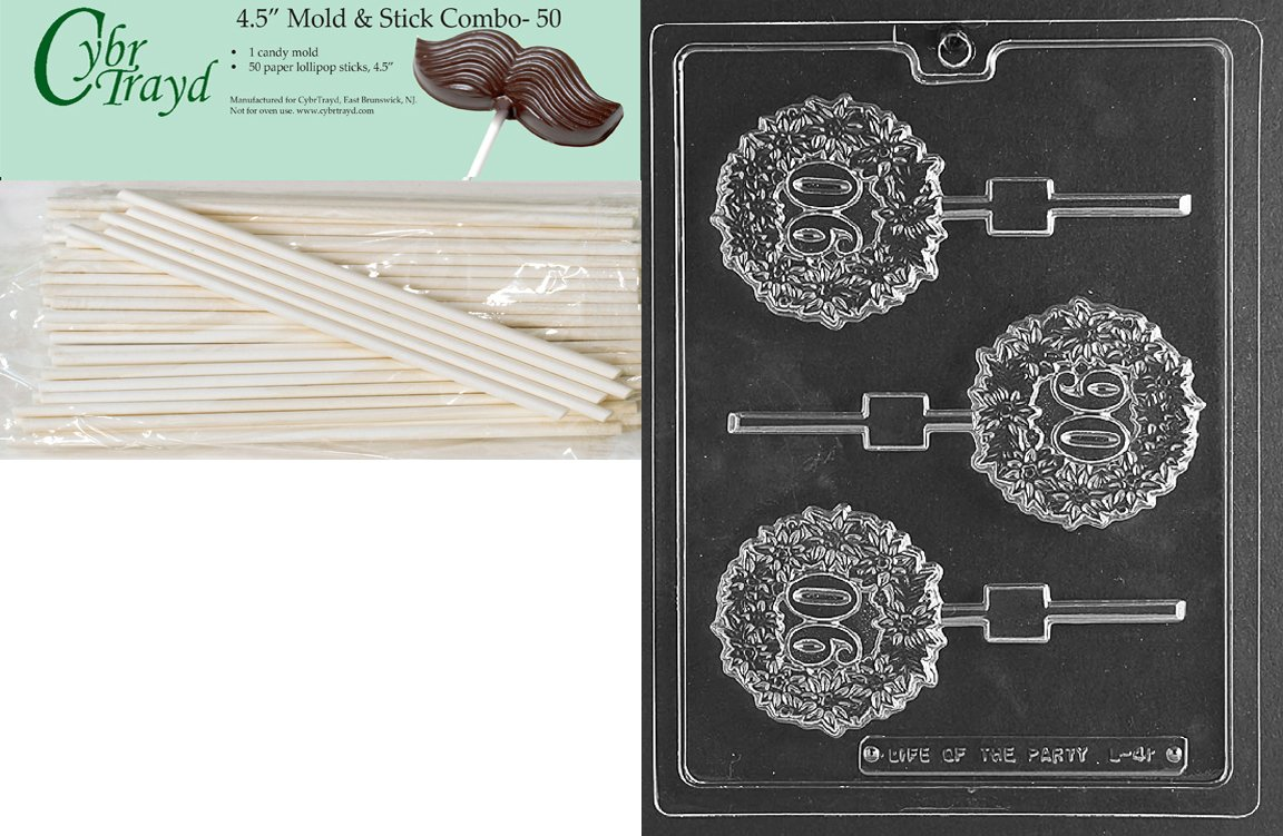 Cybrtrayd 45St50-M118 Magical Lamp Lolly Miscellaneous Chocolate Candy Mold with 50 Cybrtrayd 4.5-Inch Lollipop Sticks