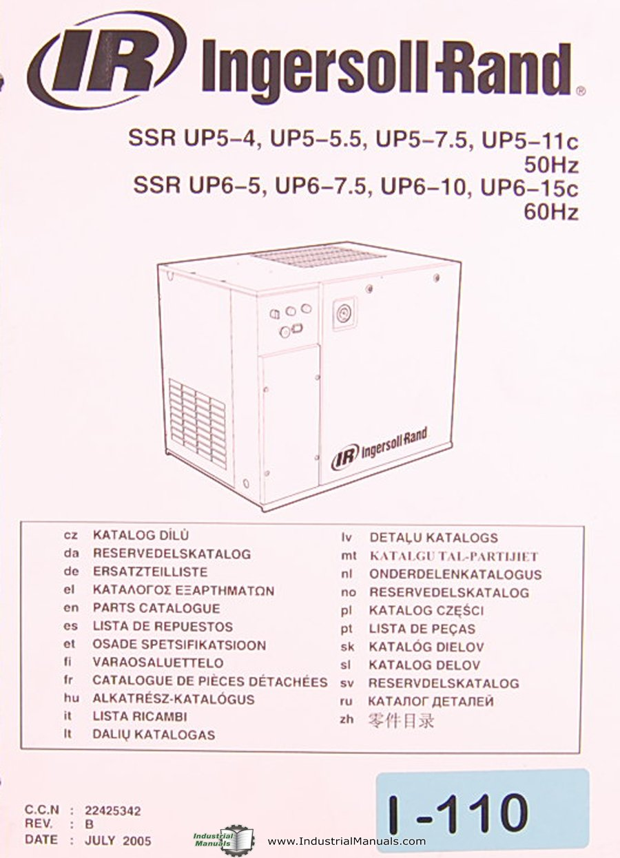 Ingersoll Rand SSR Series, Air compressor, Multiple Languages, 50Hz & 60Hz,  Parts Assembly and Electrical Manual: Ingersoll Rand: Amazon.com: Books