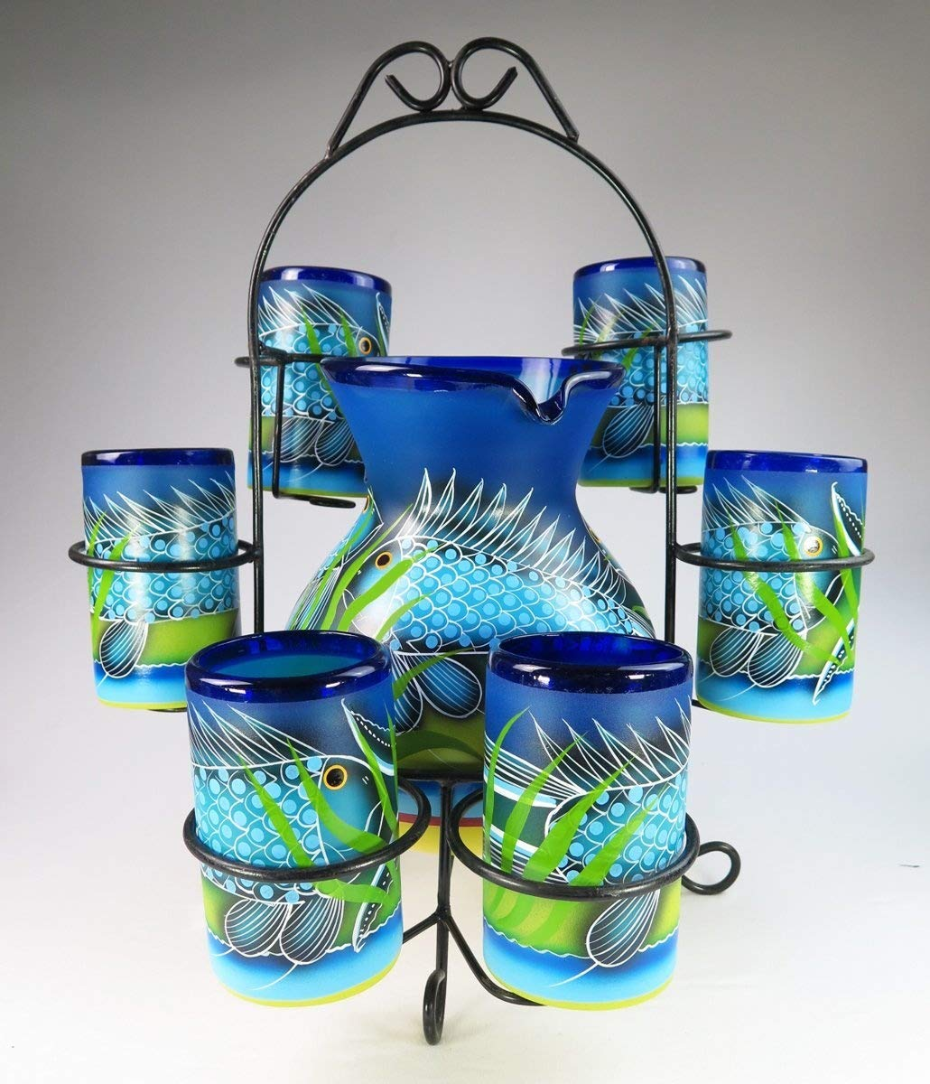 Mexican Glasses and Pitcher set, Hand Blown, Hand Painted, Blue with Fish in the Sea design with display rack Eye4Art