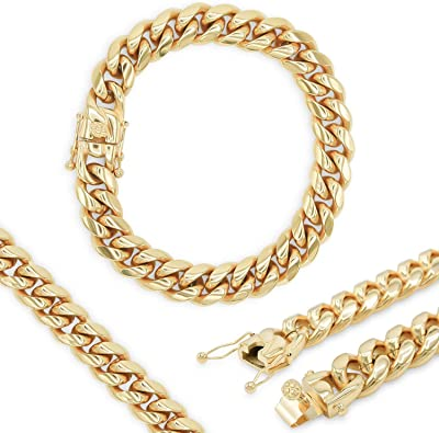 Thick 18mm Miami Cuban Link Chain Necklace Women/'s Fashion Jewelry