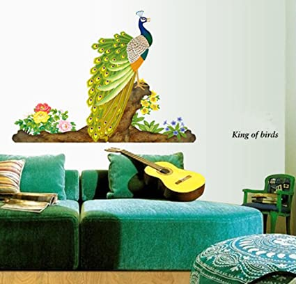b8ff5d9e53 Buy Decals Design 'Peacock Bird' Wall Sticker (PVC Vinyl, 60 cm x 90 cm,  Multicolour) Online at Low Prices in India - Amazon.in
