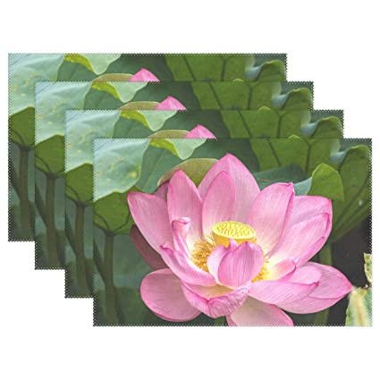 Amazoncom Wozo Pink Lotus Flower Leaves Placemat Table Mat 12 X