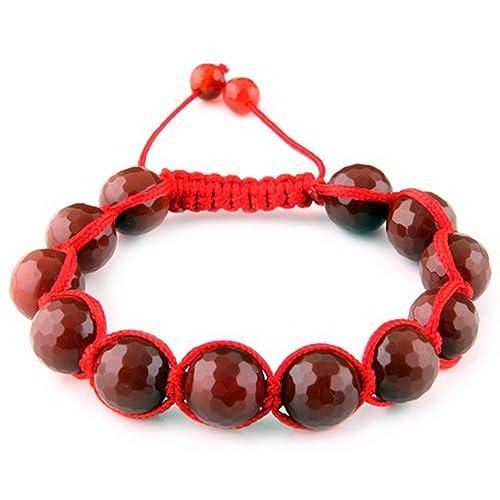 4016e3673 Amazon.com: Coloured Agate Bracelet- 10 mm Round Bead Adjustable ...