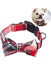 Dog Cat Collar, EYLEER Adjustable Plaid Pattern Cotton Bowtie Collar Bandana Pet Accessories for Puppy Dogs Cats Kittens (S, Red)