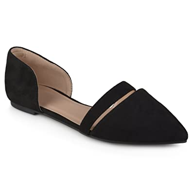 ae14499f27ce Journee Collection Womens Faux Suede Pointed Toe Flats Black