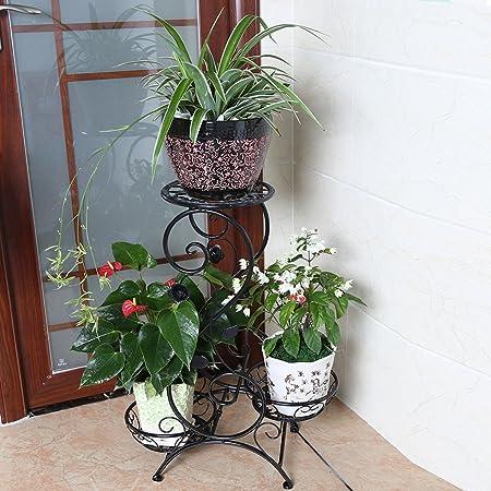 Amazon UK & JHhuajia Flower pot storage 3 Layer Flower Frame Iron DIY ...