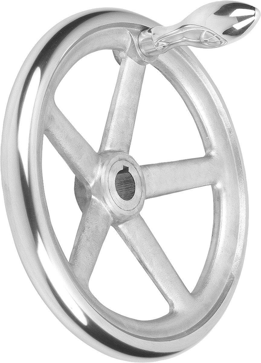 Tilt Handwheel with Nut Aluminium Complete: Aluminium, D2= 4, D1= 180, 1Piece, k0160.3180x16