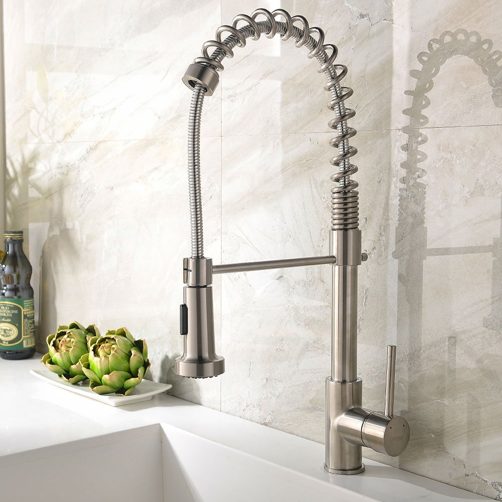Ufaucet Best Single Handle Brushed Nickel Pull Out High Arch Prep ...