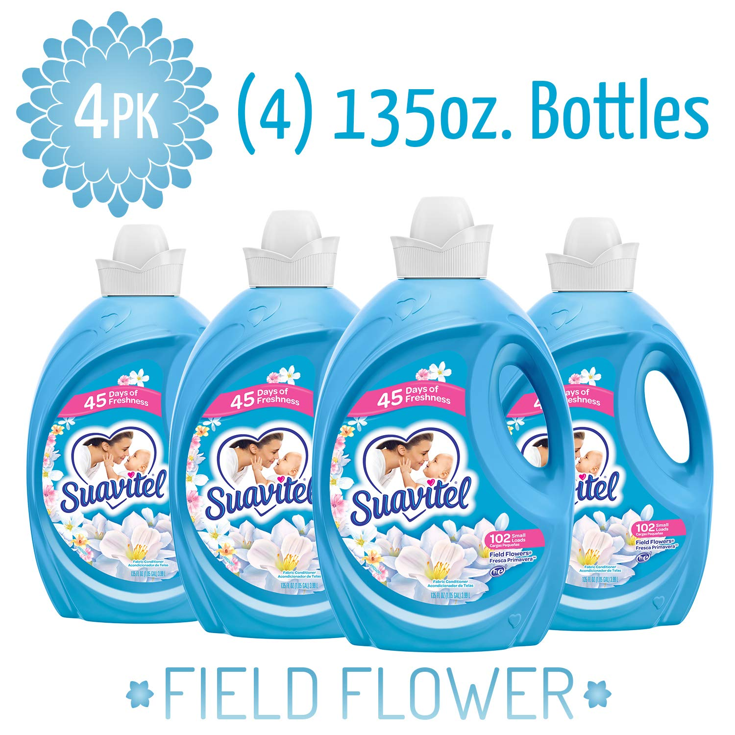 SUAVITEL Fabric Softener, Field Flowers, 102 Laundry Loads, Laundry Supplies, Long Lasting, Sensitive Skin Fabric Softener, Softens Clothes, 135 Ounce Bottle (Pack of 4) (Model Number: 139371) by Suavitel