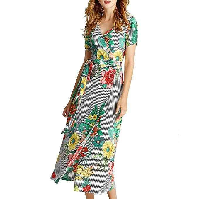94374636f44b8c Mode Damen Kleid Forh Schöne Blumen und Streifen Drucken Reizvolle V- Ausschnitt Partykleid Kurzarm Langes Abendkleider mit Gürtel Maxikleide  Sommerkleider ...