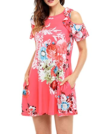 022d4d6536 Women's Floral Spring Dress Sleeveless Short Tunic Print Casual Dress for  Mom Day Gift