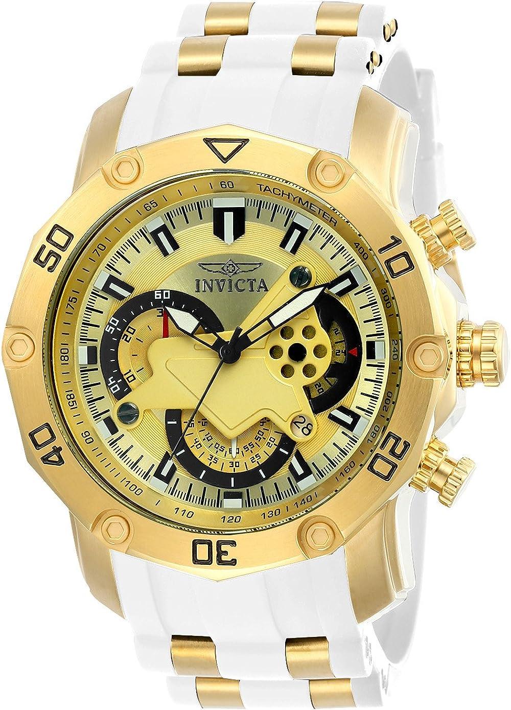 Invicta Pro Diver Reloj de cuarzo de acero inoxidable con correa de silicona, color blanco, 26