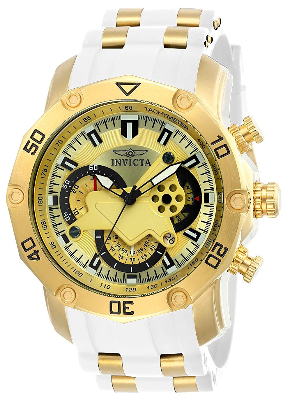 Invicta Men s Pro Diver Stainless Steel Quartz Watch with Silicone Strap, White, 26