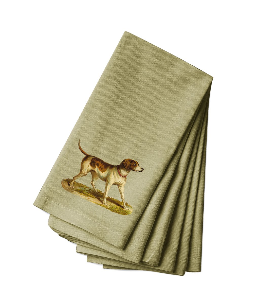 Style in Print Canvas Napkin Set Of 4 Hunting Dog With Red Collar Pets Animals