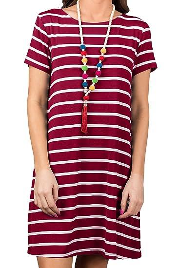 bf76b01e7488 Ashuai Women's Short Sleeve Casual Striped Criss Cross T Shirt Dress with  Pockets Swing Tunic Mini Dress at Amazon Women's Clothing store:
