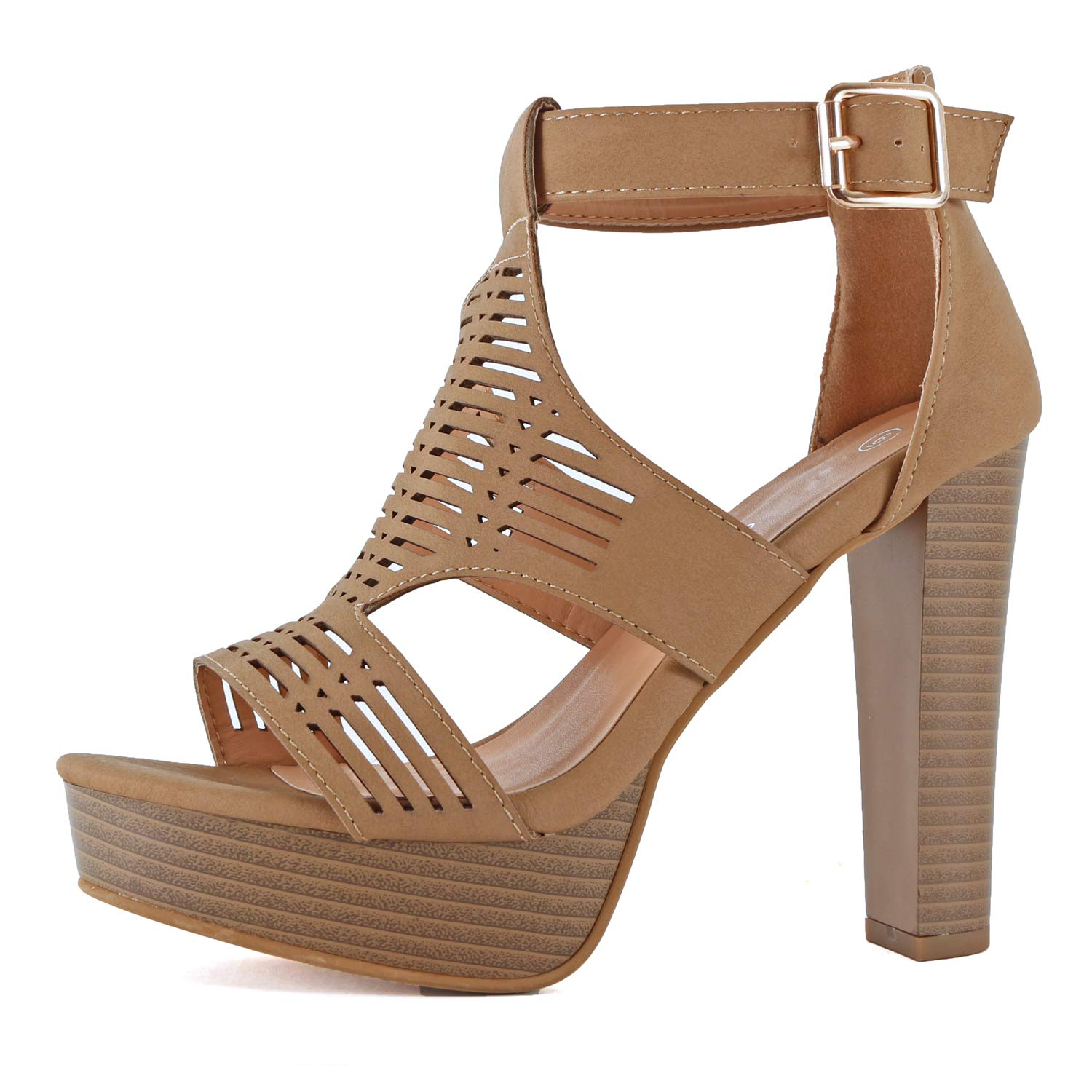 59c6a67f936c67 Guilty Shoes Womens Cutout Gladiator Ankle Strap Platform Block Heel  Stiletto Sandals product image