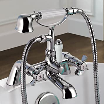 Ibathuk Traditional Chrome Bath Filler Mixer Tap Vintage Hand Held Shower Head