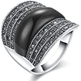 dnswez 22mm Black Onyx Marcasite Stones Silver Cocktail Rings for Women Men