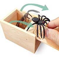 AHCAI GIIOASA Rubber Spider Prank Box,Handcrafted Wooden Prank Box, Spider in Box Prank Hilarious Box Surprise Toy and Gag Gift Practical Joke-Single