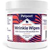 Petpost | Bulldog Wrinkle Wipes for Dogs - Cleans and Soothes Pug Wrinkles and Folds - 100 Ultra Soft Cotton Pads in…