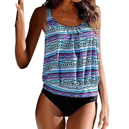 170ce45416d Womens Sexy Plus Size Swimwear Boho Printed Tankini Bikini Two Piece Beach Swimsuit  Bathing Suit S-3XL at Amazon Women s Clothing store