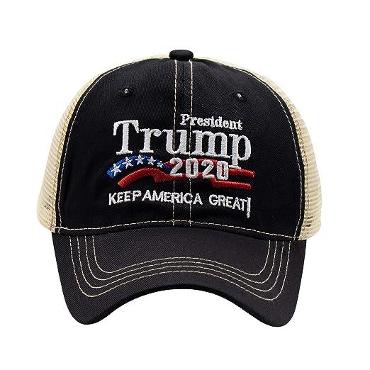 7893edbe0 ROWILUX President Trump 2020 Keep America Great Embroidered USA Flag Hat  Baseball Trucker Cap