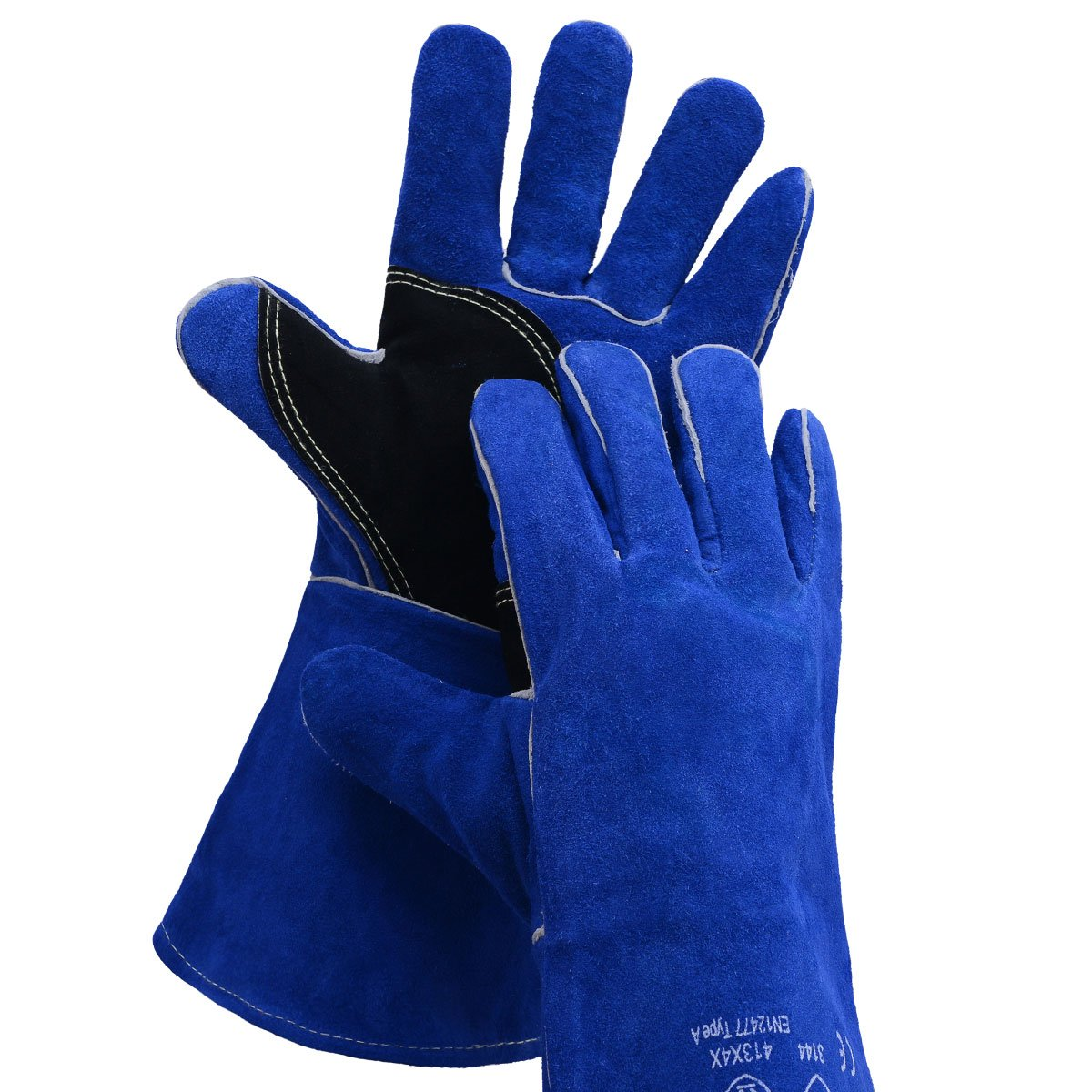 BOWOO Leather Welding Gloves Stitching Heat Resistant Glove for Tig/Mig/Stick/Gardening 14IN,1 pair (Blue-Black)