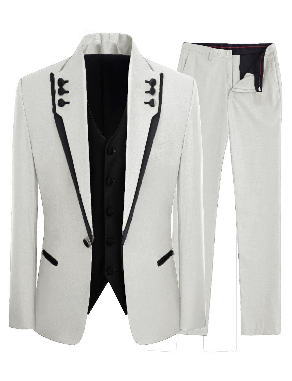 Lilis Men's Fashion Gray 3 Pieces Men Suits Wedding Suits One Button Groom Tuxedos