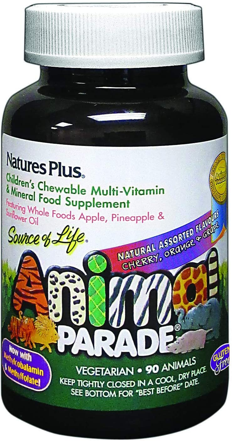 Nature's Plus Animal Parade Children's Chewable Multi-Vitamin and Mineral Supplement Assorted Flavors - 90 Chewable Tablets