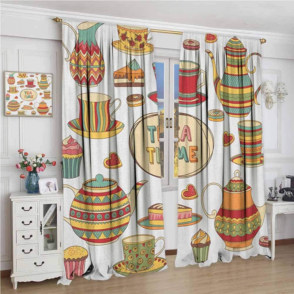 GUUVOR Tea Party Blackout Curtain Set Tea Time Cartoon Set with Donuts Cake Slices Cupcakes Breakfast Get Together Kindergarten Shading Insulation W96 x L72 Inch Multicolor by GUUVOR