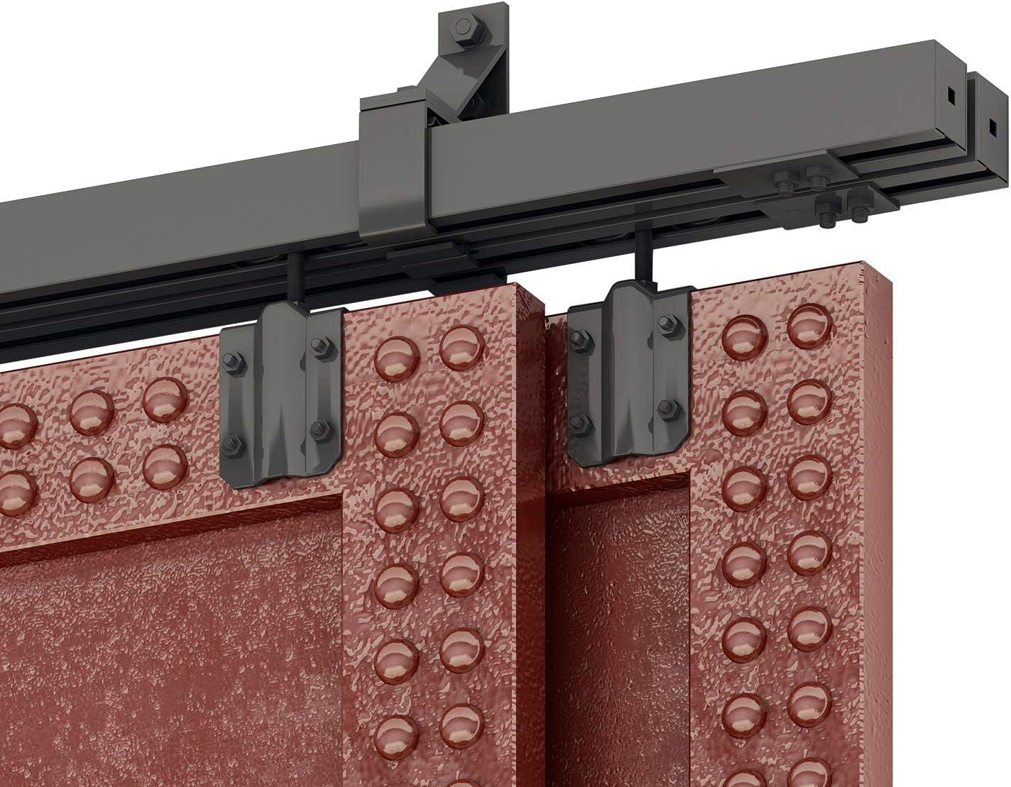 Amazon Com Diyhd 6ft Box Rail Heavy Duty Bypass Barn Door Hardware Black Box Track Exterior Sliding Barn Door Bypass Hardware Home Improvement
