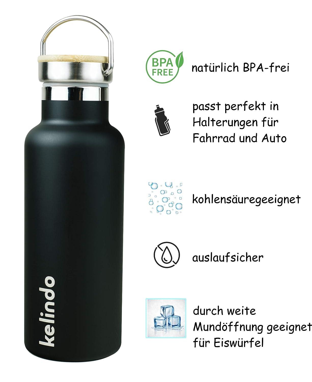 kelindo Trinkflasche Edelstahl doppelwandig isoliert - 500ml 700ml 1000ml Edler Bambusdeckel und praktischer Verschluss f/ür Sport und Kinder 2 Trinkaufs/ätze