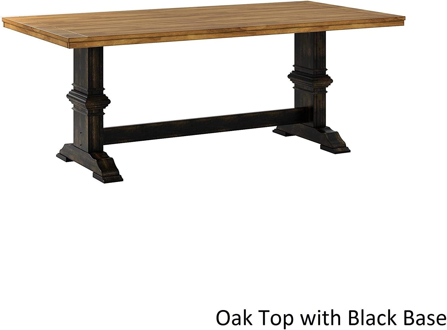 Inspire Q Eleanor Two-Tone Rectangular Solid Wood Top Dining Table by Classic Black Antique, Oak Finish, Black Finish, Distressed
