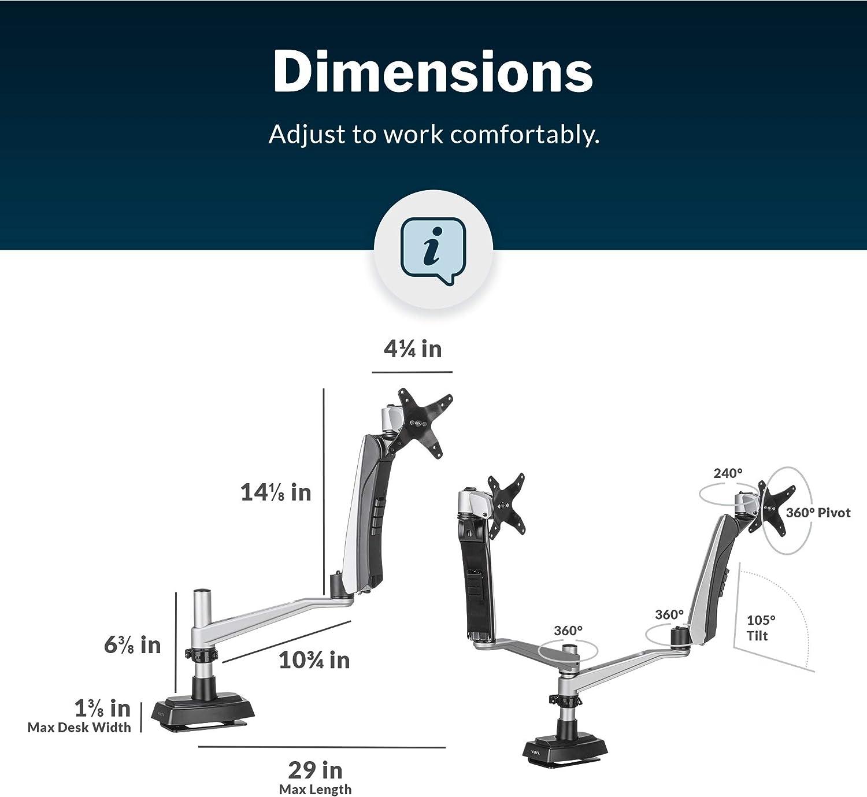 Bras Vari Dual Monitor - Ressort à Mouvement Complet avec Articulation à 360 degrés - Réglage Facile de la Hauteur