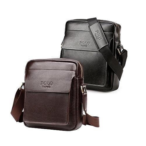 4c4399ef4c1a6 Polo Hombre de cuero genuino Apple iPad Bolsa Messenger Shoulder Bag Casual  Crossbody Business bolso de bolsillo Marrón Negro  Amazon.es  Zapatos y ...