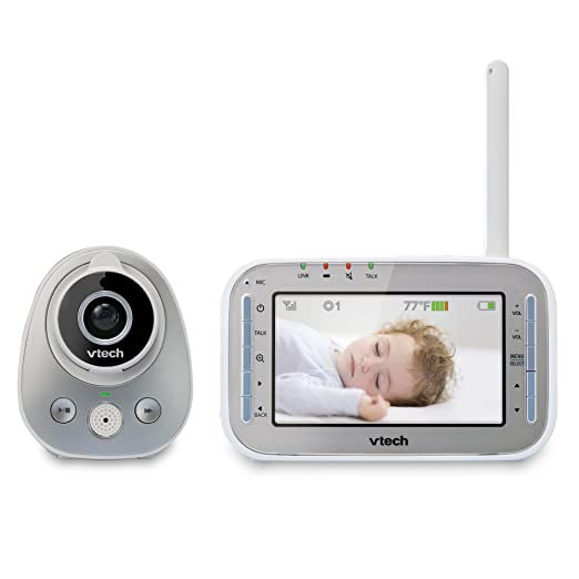 VTech VM342 Video Baby Monitor with 170-Degree Wide-Angle Lens for Panoramic View, Night Vision, Talk-back Intercom u0026amp; 1,000 feet of Range