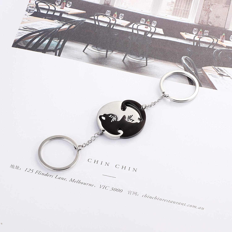 Thunaraz 6PCS Stainless Steel Yin Yang Pet Cat Puzzle Pendant Necklace for Couples Couple Bracelet Couple Keychain